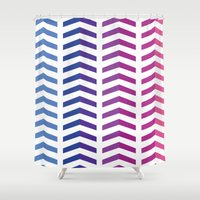 herringbone Shower Curtains featuring Herringbone by Snowberry Co.