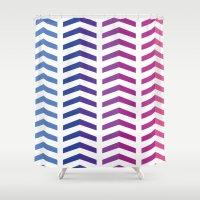 herringbone Shower Curtains featuring Herringbone by Snowberry Co.