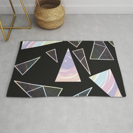 Abstract Artwork Pattern of Color Triangles on a Black Background Style #04 Rug