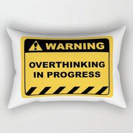 "Human Warning Label ""Warning Overthinking In Progress"" Sayings Sarcasm Humor Quotes Rectangular Pillow"