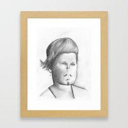 Mustached Girl  Framed Art Print