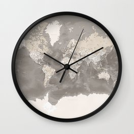 Brown detailed world map with artistic ocean floor, Davey Wall Clock