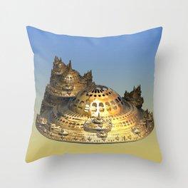 City of Gold Fractal Throw Pillow