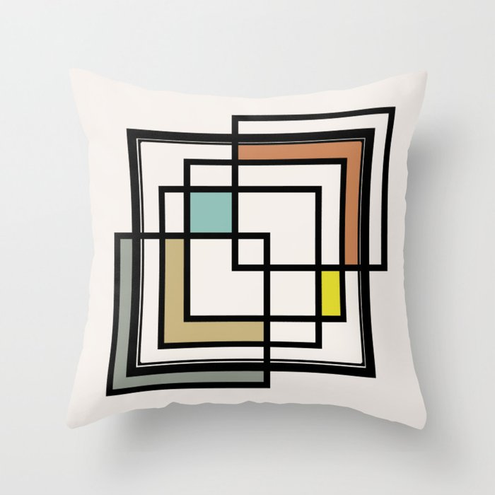 Mid Century Modern Squares Throw Pillow
