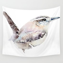 Watercolor Wren Painting Wall Tapestry