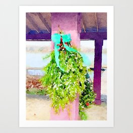 Pine Beach Christmas Swag in Watercolor Art Print