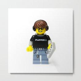 Player 1 gamer Minifig Metal Print