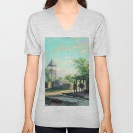 In The Caucasus 1874 By Lev Lagorio | Reproduction | Russian Romanticism Painter Unisex V-Neck