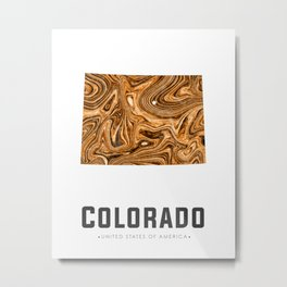 Colorado - State Map Art - Abstract Map - Brown Metal Print