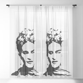 PORTRAIT OF AN ICONIC SURREALIST Sheer Curtain