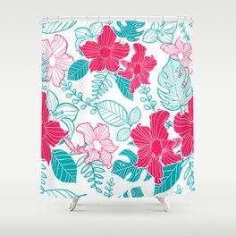 Turquoise and red tropical flowers pattern Shower Curtain