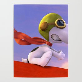 Snoopy Riding AirPlane Poster
