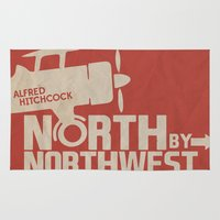 hitchcock Area & Throw Rugs featuring North by Northwest - Alfred Hitchcock Movie Poster by Stefanoreves