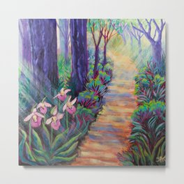 Lady Slippers on the Path Metal Print