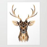 Deer Fragments Lineless Art Print