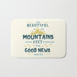 """How Beautiful on the Mountains"" Hand-Lettered Bible Verse Bath Mat"