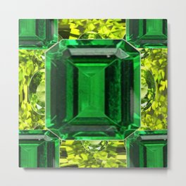 EMERALDS &  LIME GREEN PERIDOT GEMS BIRTHSTONES Metal Print