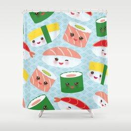 pattern Kawaii funny sushi rolls set with pink cheeks and big eyes, emoji Shower Curtain
