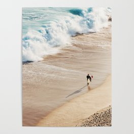 Surfer on the beach Poster