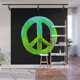 Turquoise Lime Watercolor Tie Dye Peace Sign Wall Mural