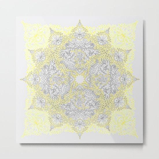 Sunny Doodle Mandala in Yellow & Grey Metal Print