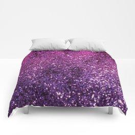 Purple Pink Ombre Lady Glitter #1 #shiny #decor #art #society6 Comforters