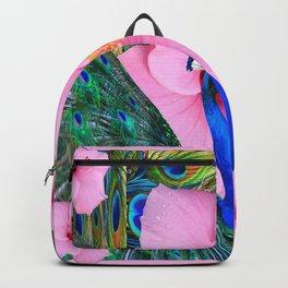 PINK HIBISCUS BLUE PEACOCK PATTERN ART Backpack