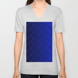 Herringbone Gradient Dark Blue Unisex V-Neck