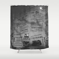 detroit Shower Curtains featuring Detroit Newspapers  by Michelle & Chris Gerard