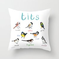tits Throw Pillows featuring Tits Illustration by Sarah Edmonds Illustration