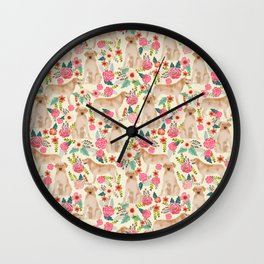 Labrador Retriever yellow lab floral dog breed gifts pet patterns florals yellow labs Wall Clock