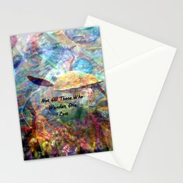 Not All Who Those Wander Are Lost Inspirational Quote With Beautiful Sea Turtle Painting Stationery Cards