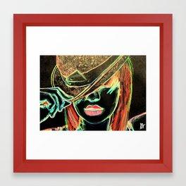 Girl in Bowler Framed Art Print