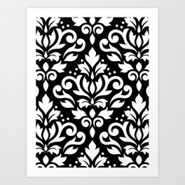 Scroll Damask Large Pattern White on Black Art Print