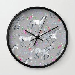Unicorns and Stars on Soft Grey Wall Clock