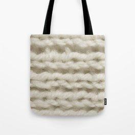 White Wool Knitting Texture Tote Bag