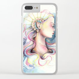 """""""Andromeda"""" Watercolour Space Princess Portrait Clear iPhone Case"""