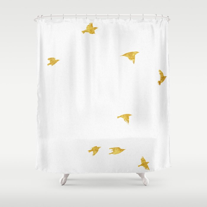 Raven Birds in Gold Copper Bronze Shower Curtain by naturemagick ...