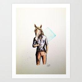 Horse in Casual Wear Art Print