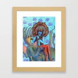 Krishna snake elephant Framed Art Print