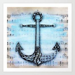Zentangle anchor Art Print