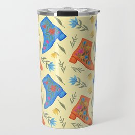 These boots are made for walking | Yellow floral and boots pattern Travel Mug
