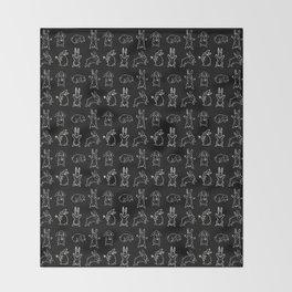 Bunny pattern black Throw Blanket