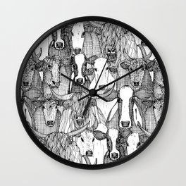 just cattle black white Wall Clock