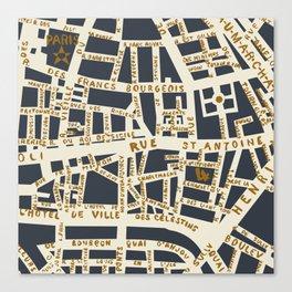 PARIS MAP GREY GOLD Canvas Print