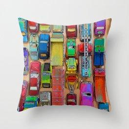 Toy Traffic Jam Throw Pillow