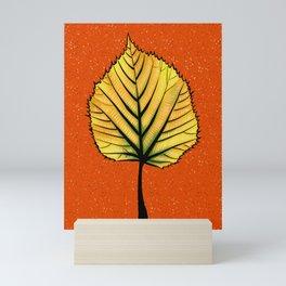Yellow Linden Leaf On Orange Botanical Art Mini Art Print