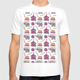 Colorful red blue gray watercolor elephant circus pattern T-shirt