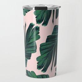 Tropical Blush Banana Leaves Dream #1 #decor #art #society6 Travel Mug