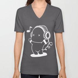Music Headphone Funny Happy Little Man Tune Gift Unisex V-Neck